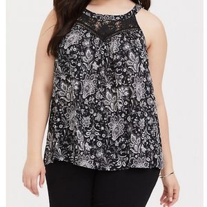 NWT Torrid Paisley Challis and Lace Tank